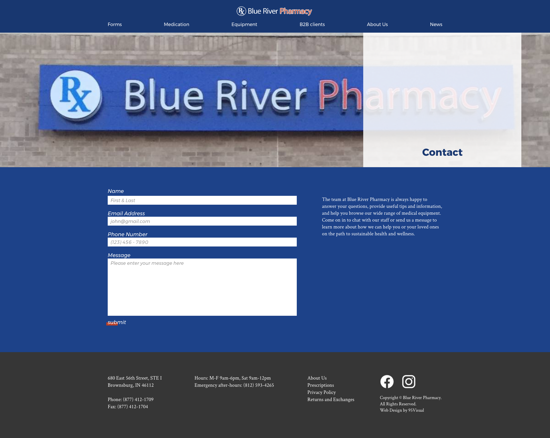 Blue River Pharmacy contact mockup