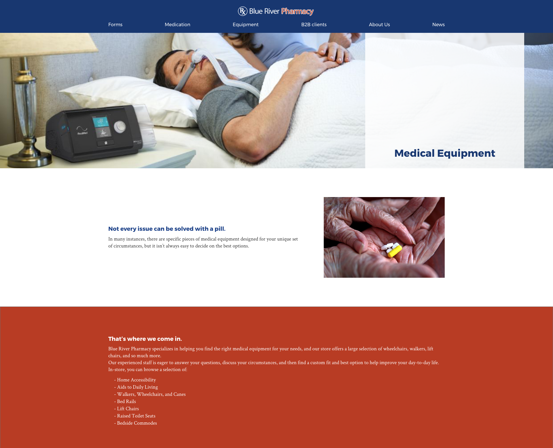 Blue River Pharmacy medical management page mockup