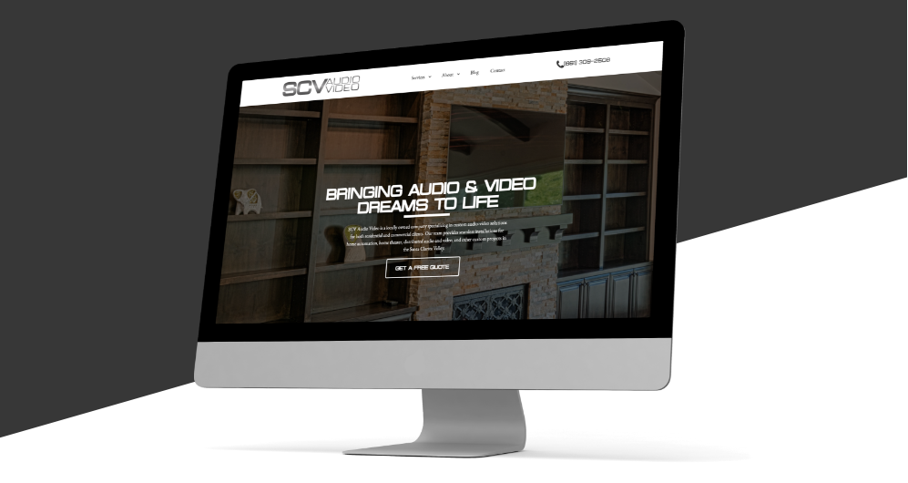 a mockup image of SCV Audio Video's homepage