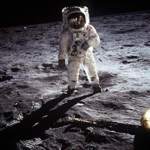 photo of an astronaut on the moon