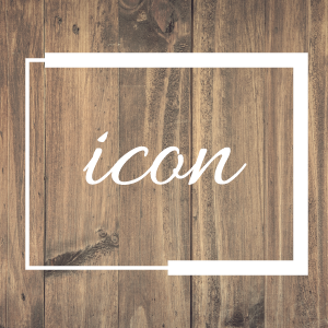 graphic image of a wooden backdrop with the word 'icon' overlayed on top of it