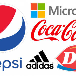 a collage of logos including pepsi, microsoft, coca cola, dairy queen, and adidas