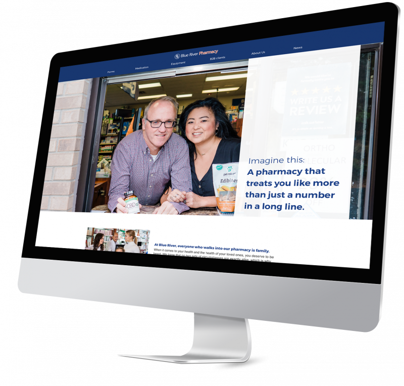Blue River Pharmacy Website Mockup