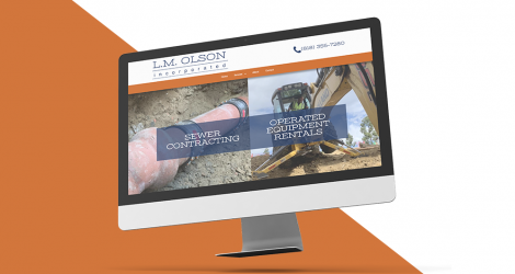 screenshot of the homepage of lm olson inc.
